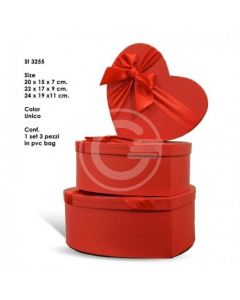 SET 3 SCATOLE A CUORE ROSSE