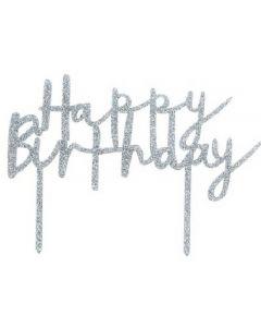 CAKE TOPPER HAPPY BIRTHDAY ARGENTO GLITTER