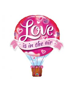"""PALLONCINO MYLAR SUPERSHAPE MONGOLFIERA """"LOVE IS IN THE AIR"""" 107CM/42"""""""