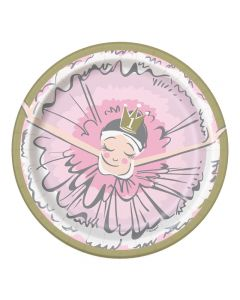 PIATTINI BALLERINA PINK & GOLD 1ST BIRTHDAY PZ.8
