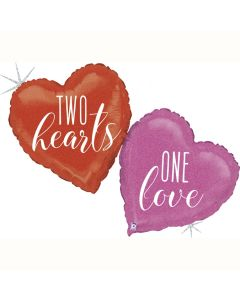 PALLONCINO MYLAR SUPERSHAPE TWO HEARTS,ONE LOVE
