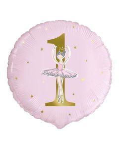 "PALLONCINO MYLAR 18"" BALLERINA PINK & GOLD 1ST BIRTHDAY"
