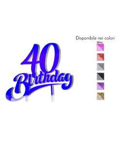Cake Topper 40 Auguri Legno