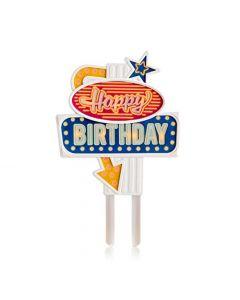 FLASHING CAKE TOPPER RETRO' HAPPY BIRTHDAY