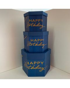 SET SCATOLE ESAGONALI HAPPY BIRTHDAY BLU/ORO PZ.3