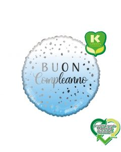 PALLONCINO MYLAR BUON COMPLEANNO LIGHT BLUE