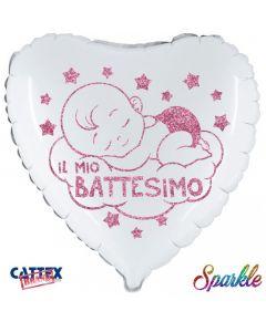 "PALLONCINO MYLAR 18"" BATTESIMO ROSA GLITTER"