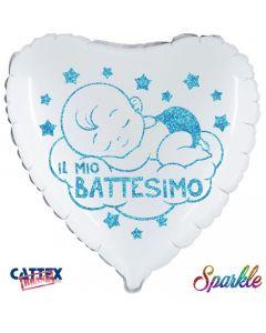 """PALLONCINO MYLAR 18"""" BATTESIMO CELESTE GLITTER"""