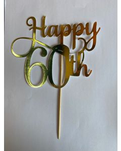 CAKE TOPPER HAPPY 60TH GOLD