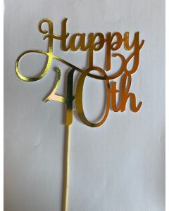 CAKE TOPPER HAPPY 40TH GOLD
