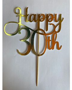 CAKE TOPPER HAPPY 30TH GOLD