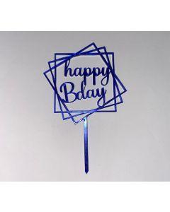 """MINI CAKE TOPPER IN PLEX BLU """"HAPPY B'DAY"""""""
