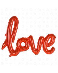 SCRITTA MYLAR LOVE IN CORSIVO ROSSA