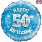 PALLONCINO MYLAR 50TH BIRTHDAY BLUE